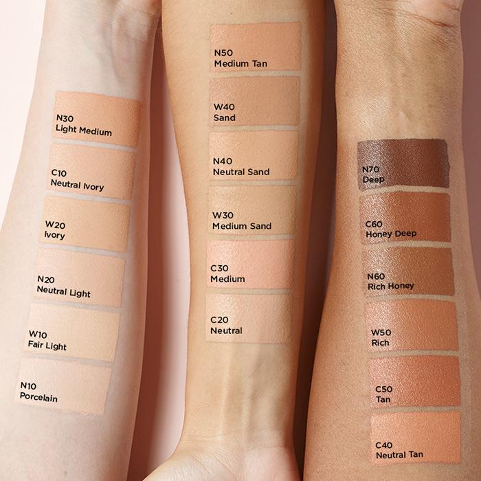 slim fit foundation shades swatches